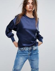 Атласная блузка Noisy May - Темно-синий