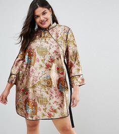 Платье мини в китайском стиле с запахом и окантовкой ASOS CURVE - Мульти