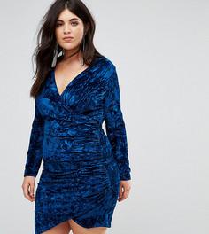 Бархатное платье мини с запахом Club L Plus - Темно-синий