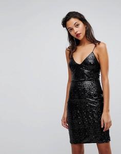Платье на бретельках с пайетками Club L - Черный