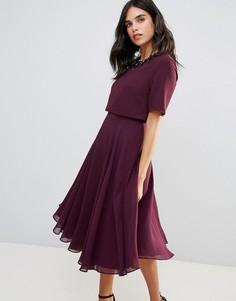 Приталенное платье миди с кроп-топом и 3D-отделкой ASOS - Фиолетовый