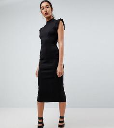 Платье-футляр миди с высоким воротником, вырезом на спине и отделкой на плечах ASOS TALL - Черный