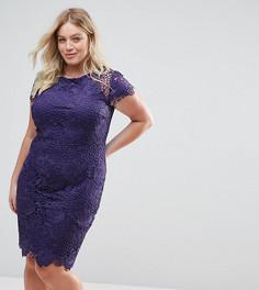 Кружевное платье с короткими рукавами Paper Dolls Plus - Фиолетовый