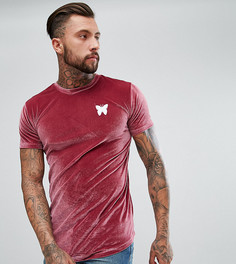 Бордовая обтягивающая футболка из велюра Good For Nothing - Красный