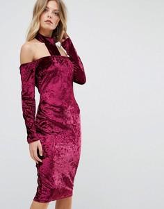 Платье миди из мятого бархата с чокером Ax Paris - Фиолетовый