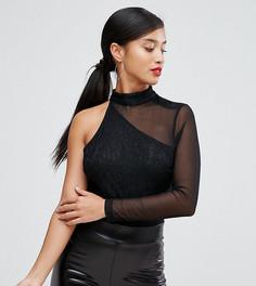 Боди на одно плечо с длинными рукавами NaaNaa Petite - Черный