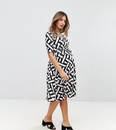 Платье миди с принтом, запахом и поясом Bluebelle Maternity - Мульти