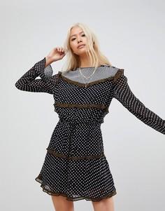 Платье с длинными рукавами и принтом Maison Scotch - Мульти