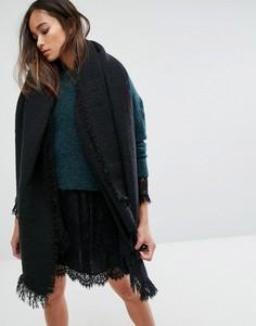 Черный шарф в полоску Seint - Черный