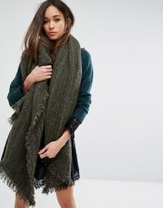 Большой шарф-накидка цвета хаки Seint - Зеленый