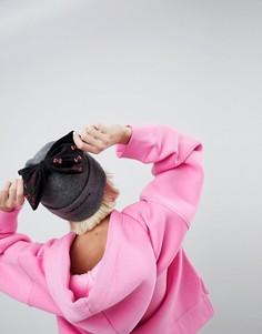 Шапка-бини с бархатным бантом и вышивкой Hello Kitty X ASOS - Серый