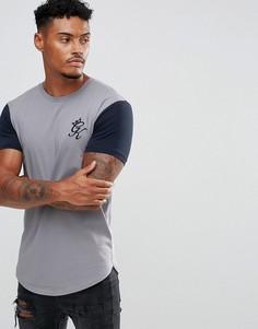 Серая обтягивающая футболка с контрастными рукавами Gym King - Серый