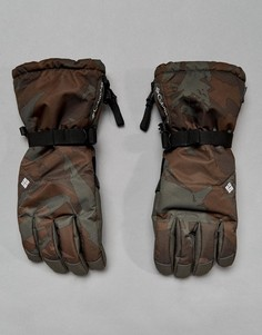 Темно-серые горнолыжные водонепроницаемые перчатки с камуфляжным принтом Columbia Whirlibird - Серый