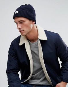 Темно-синяя шапка-бини в рубчик Esprit - Темно-синий