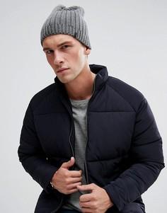 Серая шапка-бини в рубчик Esprit - Серый