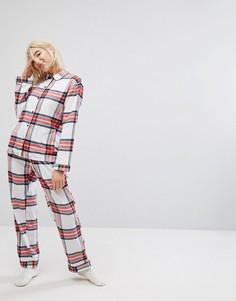 Новогодний пижамный комплект в клетку Monki - Белый