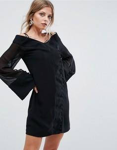Платье мини с широкими рукавами C/Meo Collective Presence - Черный