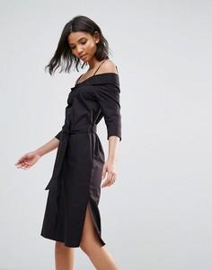 Черное хлопковое платье миди со спущенными плечами Neon Rose - Черный