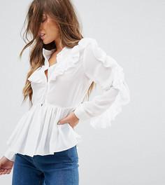 Блузка с оборками True Decadence Petite - Белый
