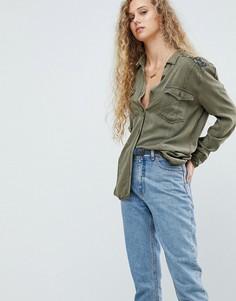 Рубашка в стиле милитари с вышивкой на плече Pepe Jeans - Зеленый