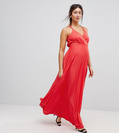 Платье макси с запахом и складками ASOS Maternity - Красный
