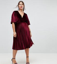 Бархатное платье-кимоно миди с плиссировкой ASOS CURVE - Красный