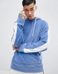 Худи синего цвета из велюра с полоской на рукавах Jaded London - Синий