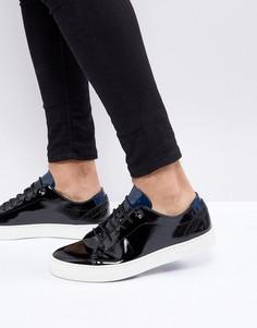 Лакированные кожаные кроссовки Ted Baker - Черный