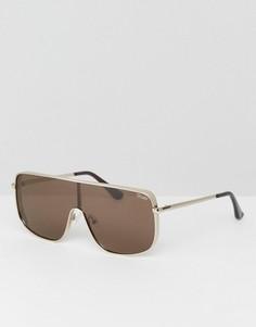 Коричневые солнцезащитные очки-маска Quay Australia X Kylie Jenner Unbothered - Коричневый