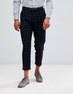 Строгие укороченные брюки в клетку Jack & Jones Intelligence - Темно-синий