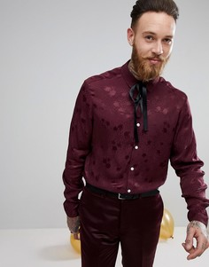Рубашка классического кроя в горошек с завязкой ASOS Party - Красный