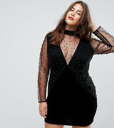 Облегающее платье с V-образным вырезом и сетчатыми рукавами Boohoo Plus - Черный