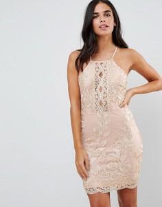 Платье металлик с вышивкой Parisian - Розовый