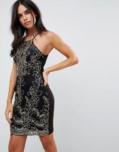 Платье металлик с вышивкой Parisian - Черный