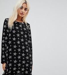 Свободное платье с длинными рукавами и звездным принтом Glamorous Petite - Черный