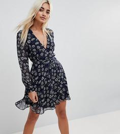 Чайное платье с винтажным принтом Glamorous Petite - Темно-синий