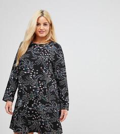 Свободное платье с длинными рукавами и цветочным принтом Alice & You - Черный