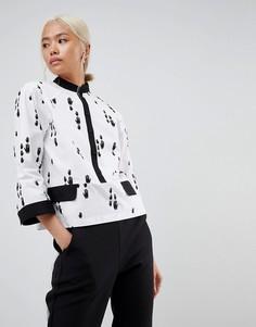 Рубашка с нанесенным вручную принтом ASOS WHITE - Мульти