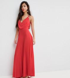 Плиссированное платье макси с запахом и плиссированной юбкой ASOS PETITE - Красный