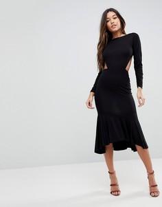 Облегающее платье миди с открытой спиной и оборкой по нижнему краю ASOS - Черный
