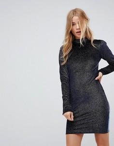 Облегающее платье из блестящего бархата с высоким воротом Glamorous - Темно-синий