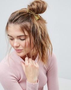 Резинка для волос с блестящим бантом и искусственным жемчугом ASOS - Золотой