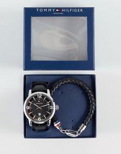 Браслет и часы с кожаным ремешком Tommy Hilfiger - Черный