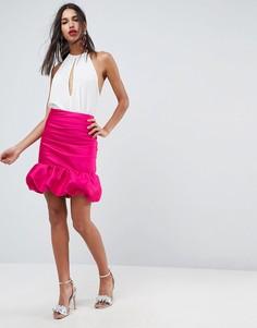 Мини-юбка с завышенной талией ASOS - Розовый