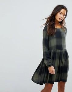 Платье в клетку с баской Only - Зеленый