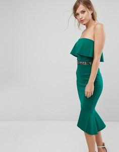 Облегающее платье с оборками и асимметричным подолом Silver Bloom - Зеленый