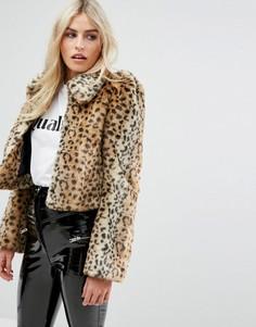 Шуба из искусственного меха с леопардовым принтом Millie Mackintosh - Коричневый