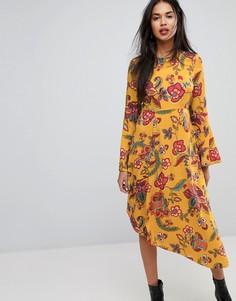Платье миди с цветочным принтом и асимметричным нижним краем Vero Moda - Мульти