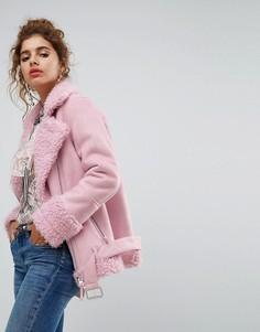 Оверсайз куртка из искусственной цигейки H! By Henry Holland - Розовый