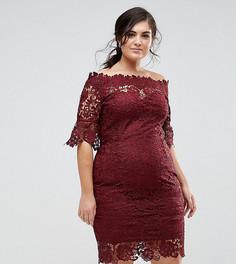 Платье из кружева кроше с открытыми плечами Paper Dolls Plus - Красный